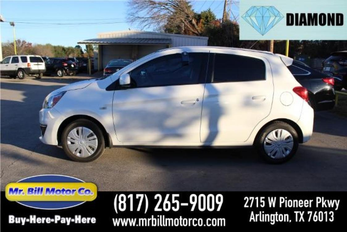 2019 WHITE Mitsubishi Mirage ES CVT (ML32A3HJ9KH) with an 1.2L L3 DOHC engine, Continuously Variable Transmission transmission, located at 2715 W Pioneer Pkwy, Arlington, TX, 76013, (817) 265-9009, 32.710262, -97.153236 - Photo #0