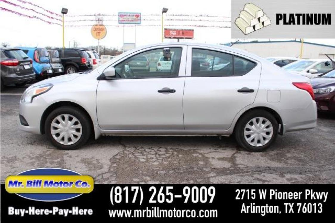 2017 Silver Nissan Versa 1.6 S Plus (3N1CN7AP6HL) with an 1.6L L4 DOHC 16V engine, Continuously Variable Transmission transmission, located at 2715 W Pioneer Pkwy, Arlington, TX, 76013, (817) 265-9009, 32.710262, -97.153236 - Photo #0